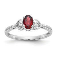 10k White Gold Oval Genuine Garnet & Diamond Hearts Ring