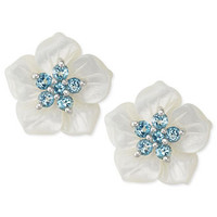 Sterling Silver Earrings, White Mother of Pearl and Blue Topaz (1 ct. t.w.) Flower Stud Earrings - Earrings - Jewelry & Watches - Macy's