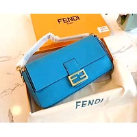 Free shipping-Fendi baguette shoulder slanted shoulder bag Blue