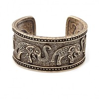 Forget Me Not Brass Elephant Cuff