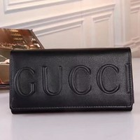 GUCCI Women Leather Buckle Wallet Purse-4
