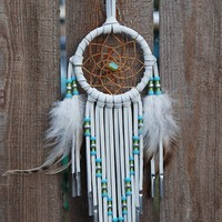 3 Inch White Deerhide Dream Catcher-Turquoise and Silver