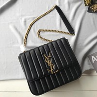 YSL SAINT LAURENT WOMEN'S LEATHER LARGE VICKY INCLINED SHOULDER BAG