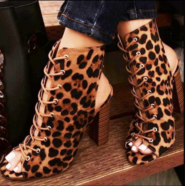 Image of Hot style thick heel cross-lace-up heels cool boots