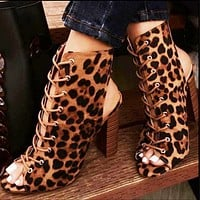 Hot style thick heel cross-lace-up heels cool boots