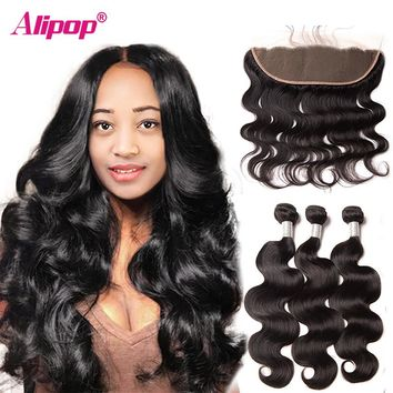 Peruvian Hair Body Wave Bundles With Closure Peruvian Human Hair Bundles With Closure Lace Frontal Alipop Frontal NonRemy 4 PCS