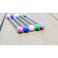 "14g Titanium opal industrial piercing barbell 1 1/4""-1 1/2"" pick your length color internally threaded"