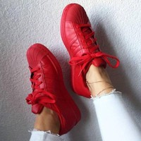 Adidas Shell-toe Sneakers Sport Shoes Pure Color Flats Red