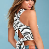 You Do You Black and White Striped Crop Top