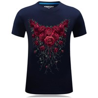 Mens Hot Summer red rose Printed T-shirts size sml