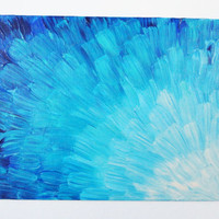 SEA SCALES Abstract Acrylic Painting 8 x 10 Lovely Shades of Ocean Turquoise Sky Blue Royal Blue Navy White Water Reflection Beach Chic Art