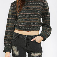 Urban Renewal Cropped Fair Isle Sweater - Urban Outfitters