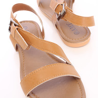 Tan Strappy Side Buckle Open Toe Sandals Faux Leather
