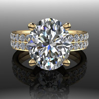 Forever Brilliant Moissanite Oval and Diamond Engagement Ring 4.90 CTW