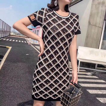 Fendi Short Sleeve Women Fashion Simple Retro  Mini Dress