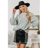 Seizing The Daydream Cable Knit Sweater   Sage