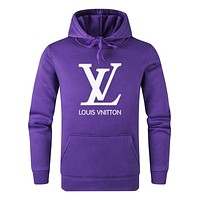 LV Louis Vuitton Autumn Winter Popular Letter Print Hoodie Sweater Top Sweatshirt Purple