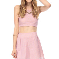 Lace Overlay Cut Out Sleeveless Crop Top
