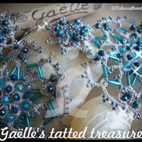 Turquoise sky' big hand tatted earrings