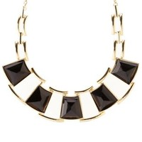 Gold Linked Faceted Stone Statement Necklace by Charlotte Russe