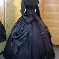 Victorian Dress Period Gown Black Gothic Theater Steampunk Punk Clothing 156