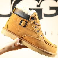 """UGG"" Women Men Fashion Wool Calfskin Boots Shoes"