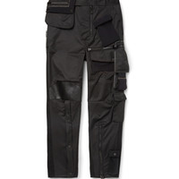 Balenciaga - Tapered Leather-Trimmed Satin Cargo Trousers