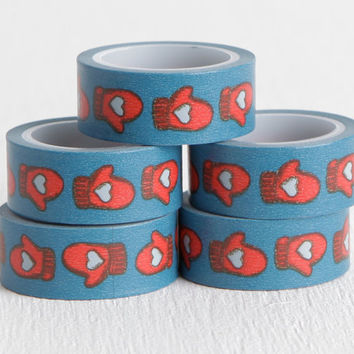Heart Mitten Washi Tape, Winter Scrapbooking, Cold Weather Romantic Red and Blue Paper Tape, Winter Washi 15mm x 5m