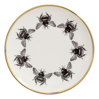 Printed porcelain plate - White/Bees - Home All   H&M GB