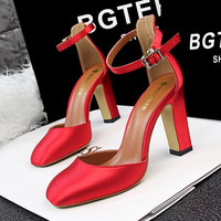 Stunning Ankle Strap Close Toe Chunky Heels