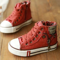Kids Denim Canvas Shoes - In Blue or Red
