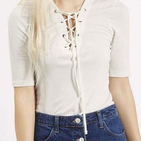 White Plunge Lace Up Front Short Sleeve Ribbed T-shirt