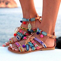 Stylish Summer Design Flat Plus Size Bohemia Peep Toe Sandals [270191886365]