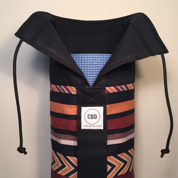 Handmade Yoga Bag, Mat Tote, Carrier - READY TO SHIP! Aztec Print, Fully Lined with Black Canvas