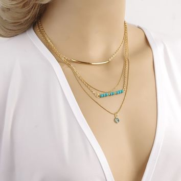 Gift New Arrival Jewelry Shiny Stylish Set Turquoise Chain Necklace [8804753031]