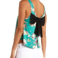 BOW-BACK FLORAL PRINT SWING CROP TOP