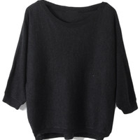 ROMWE   Buttoned Loose Black Jumper, The Latest Street Fashion