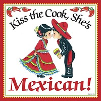 Mexican Gifts: Kiss Mexican Cook Tile Magnet