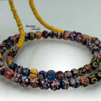 """Beads Necklace From Borneo.NEW BEADS.Tribal Dayak Ethnic Handmade Glass Bead,Currency Trade Beads,Colorful Beads/17.5""""Long/2.45oz"""