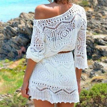 Summer Hot Sexy Lace Crochet Beach  Cover Up Dress Women White See Through Swimwear Swimsuit Cover Up Mini Dress