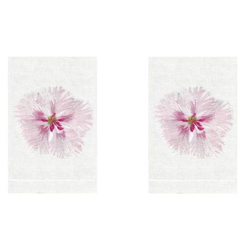 Dianthus Flower Linen Guest Towels (Set of 2) by Anali
