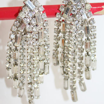 Vintage Rhinesone Drop Dangle Earrings, Rhinestone Chandelier Earrings, 1970s Jewelry