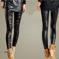 Women Hollow Lace Double Layer Stripe Leggings Slim Pantyhose = 1645813380