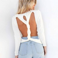 Women Personality Backless Hollow Solid Color Long Sleeve Knitwear Sweater Tops