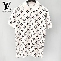 LV Louis Vuitton Summer Fashion Men Women Casual Full Logo Print Short Sleeve Lapel Shirt Top