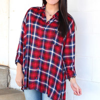Side Slit Plaid Blouse {Red+Navy}