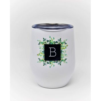 Personalized Stemless Wine Tumbler | Custom Wine Gifts | Wine Glass | Succulent Bouquet