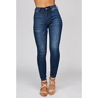 Never Paranoid High Waisted Skinny Jeans (Med/Dark Blue)