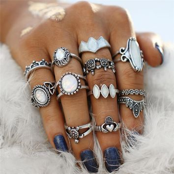 Ultimate Opal Collection Boho Midi-Knuckle Rings for Woman Set of 12
