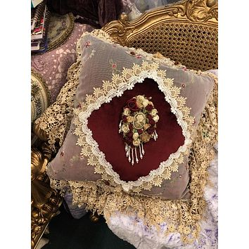 Romantic Victorian Burgundy Cameo Lace Rose Adorned Square Pillow
